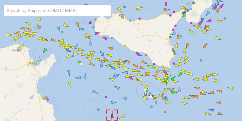 Mit dem Vessel-Finder-Toll lässt sich der Schiffsverkehr im Mittelmeer nachvollziehen – auch alle Rettungsaktionen